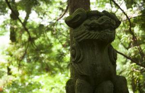 白山さん表参道の獅子