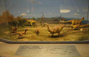 恐竜たちの小さな模型